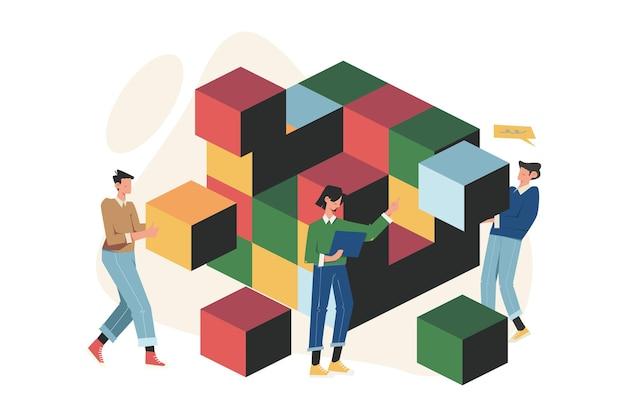 Trabalho em equipe conectando elementos de blocos de quebra-cabeça