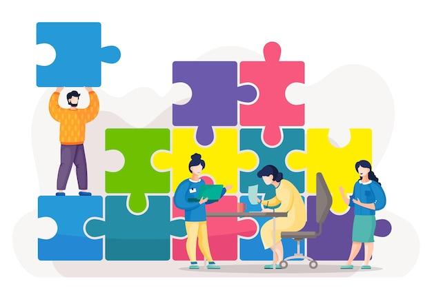Trabalho em equipe, conectando peças de quebra-cabeça, trabalhando em projetos de negócios