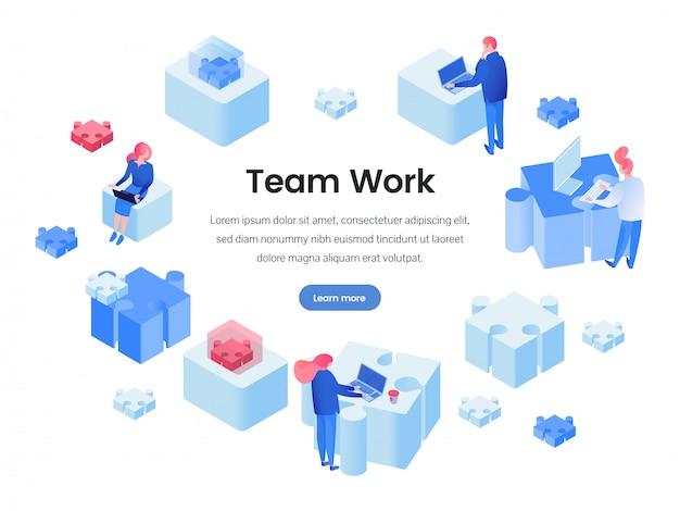 Trabalho em equipe, construção de equipe isométrica página de destino
