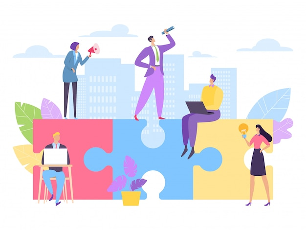 Trabalho em equipe, construção de quebra-cabeça de negócios, ilustração. as pessoas caracterizam juntos a idéia e a estratégia de sucesso, parceria.