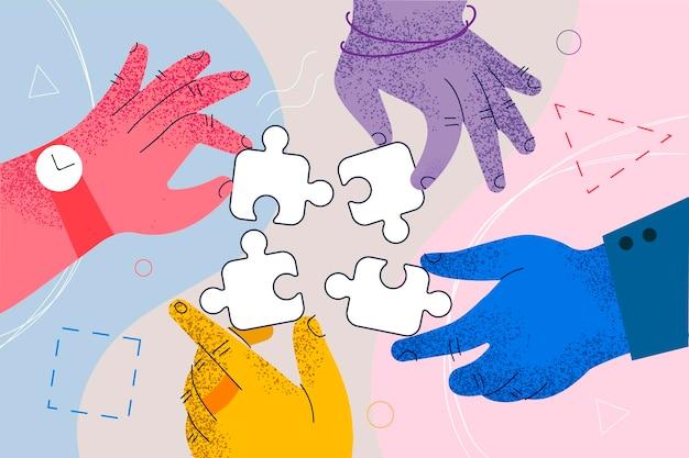 Trabalho em equipe, cooperação, conceito de colaboração empresarial.