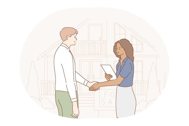 Trabalho em equipe, cooperação, conceito de parceria. desenhos animados de parceiros jovens trabalhadores de escritório