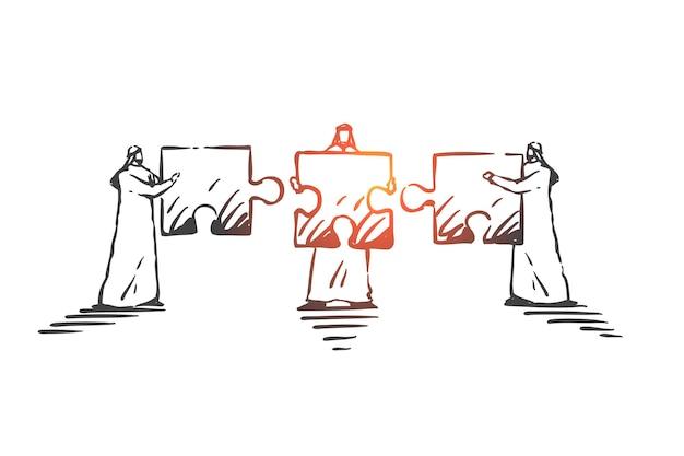 Trabalho em equipe, cooperação, ilustração do conceito de coworking