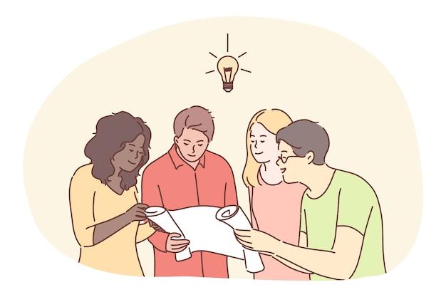 Trabalho em equipe, cooperação, negócios, análise, reunião, conceito de discussão. ideia coletiva