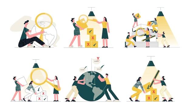 Trabalho em equipe cooperação parceria projeto coletivo trabalho ilustração vetorial plana da moda