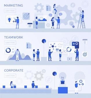 Trabalho em equipe corporate marketing landing page flat set