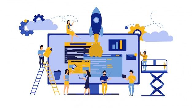 Trabalho em equipe criativo, ilustração de escritório comercial pc computador.