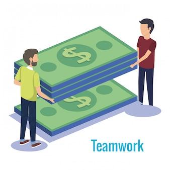 Trabalho em equipe de casal com dinheiro