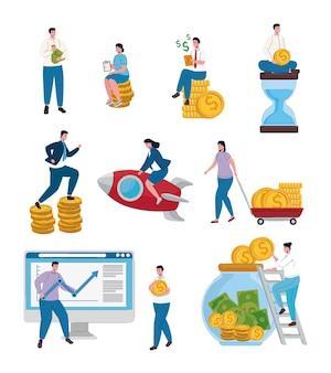 Trabalho em equipe de executivos e conjunto de ícones de dinheiro