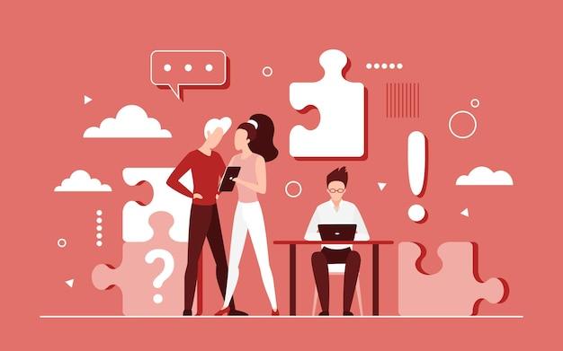 Trabalho em equipe de executivos na ideia de sucesso