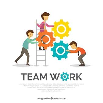 Trabalho em equipe de fundo em estilo plano