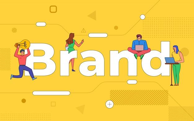 Trabalho em equipe de negócios de ilustrações cria marca trabalhando juntos. construção de marca de conceito de texto. ilustrar.