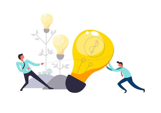 Trabalho em equipe de negócios de pessoas puxando a lâmpada juntos
