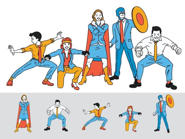 Trabalho em equipe de negócios de super-herói