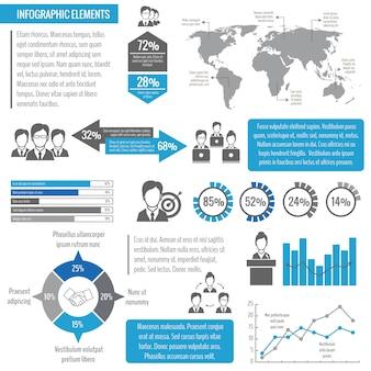 Trabalho em equipe de negócios reunião global de rede eficaz gestão infográfico modelo vector illustration