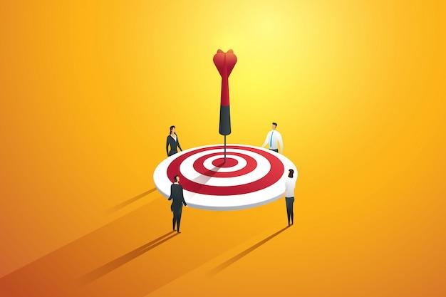 Trabalho em equipe de pessoas de negócios envolvidas para atingir as metas-alvo. conceito de marketing. ilustração