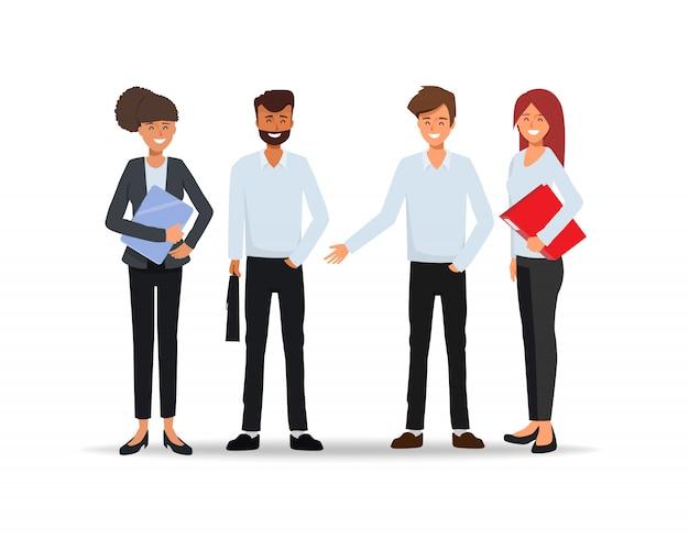 Trabalho em equipe de pessoas de negócios personagem pulando no trabalho bem sucedido.