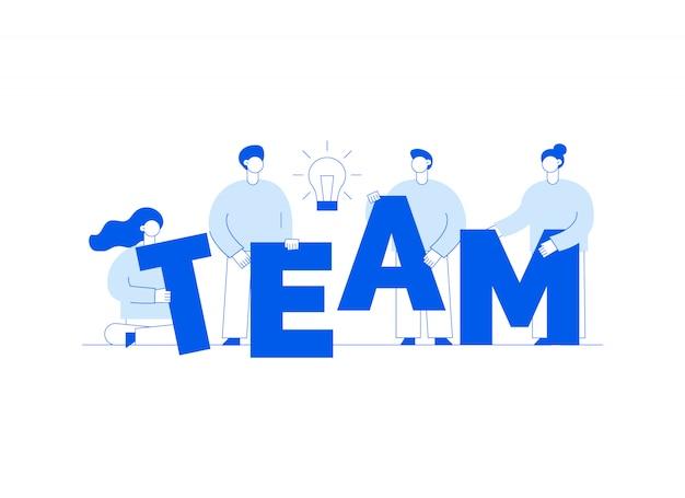 Trabalho em equipe de vetor e ilustração de estratégia de negócios