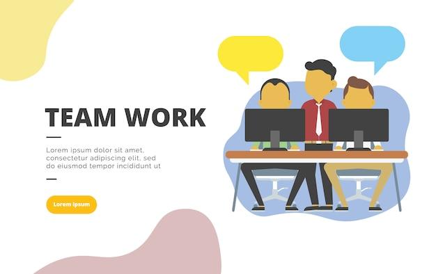 Trabalho em equipe design plano banner ilustração