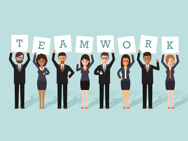 Trabalho em equipe do empresário e da empresária.