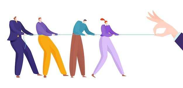 Trabalho em equipe do tug war, ilustração do conceito de corda com as mãos