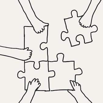 Trabalho em equipe doodle vetor mãos conectando um quebra-cabeça