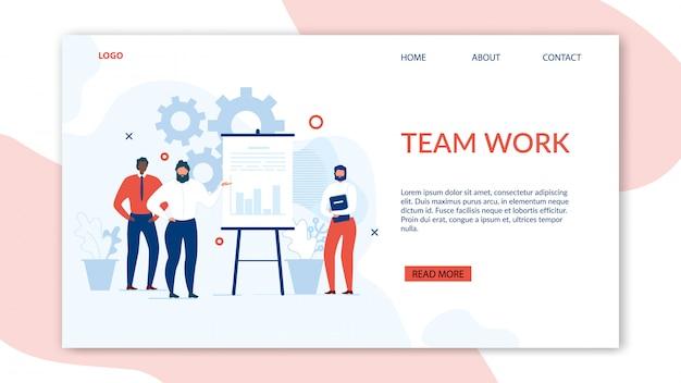 Trabalho em equipe e colaboração benefícios landing page
