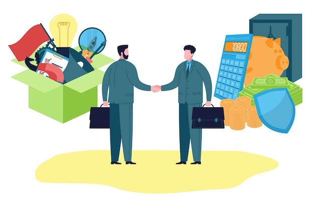 Trabalho em equipe e construção de negócios. cooperação entre investidores e startups e aperto de mão no início de um novo negócio. o investidor oferece dinheiro e apoio em troca de uma nova ideia criativa e desenvolvimento