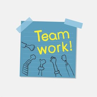 Trabalho em equipe e ilustração da nota da comunidade