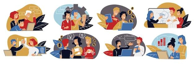 Trabalho em equipe e parceria de pessoas tarefas de negócios