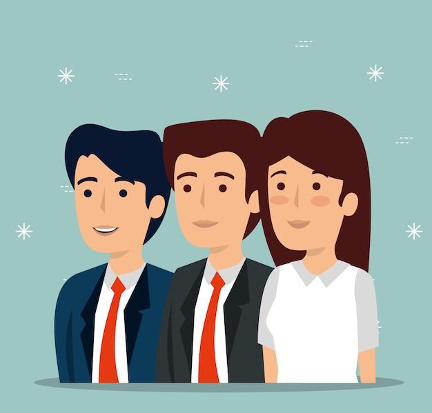 Trabalho em equipe empresária e empresários