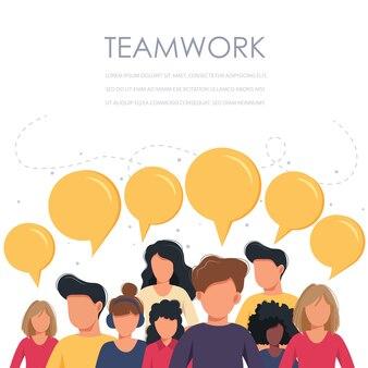 Trabalho em equipe executivos com balões de fala