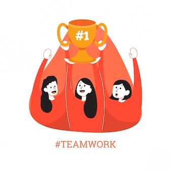 Trabalho em equipe feminina plana em rosa