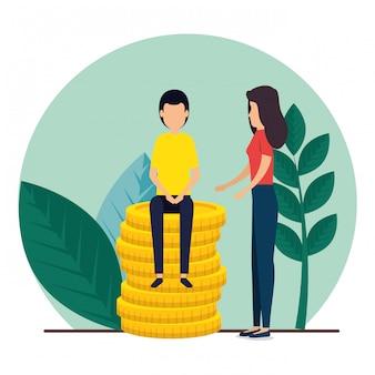 Trabalho em equipe homem e mulher com plantas e moedas
