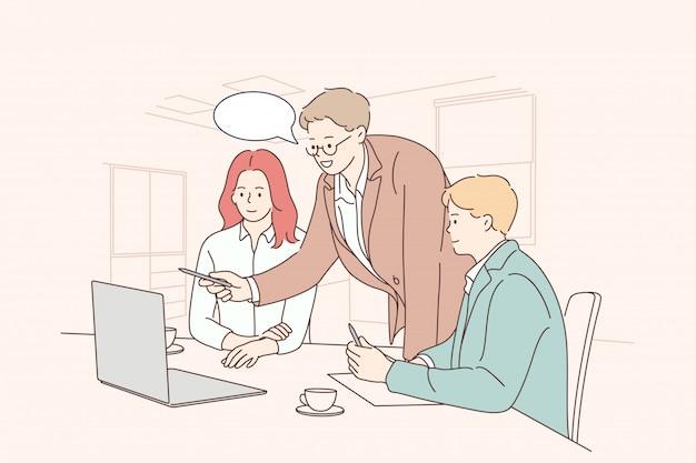 Trabalho em equipe, idéia, brainstorming, coworking, negócios, análise, reunião, conceito de discussão