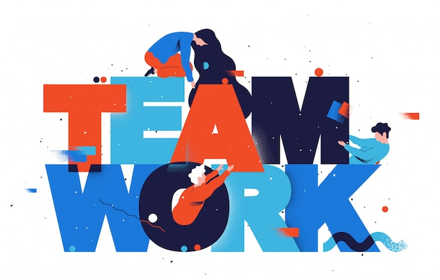 Trabalho em equipe. ilustração em vetor plana construção de equipes.