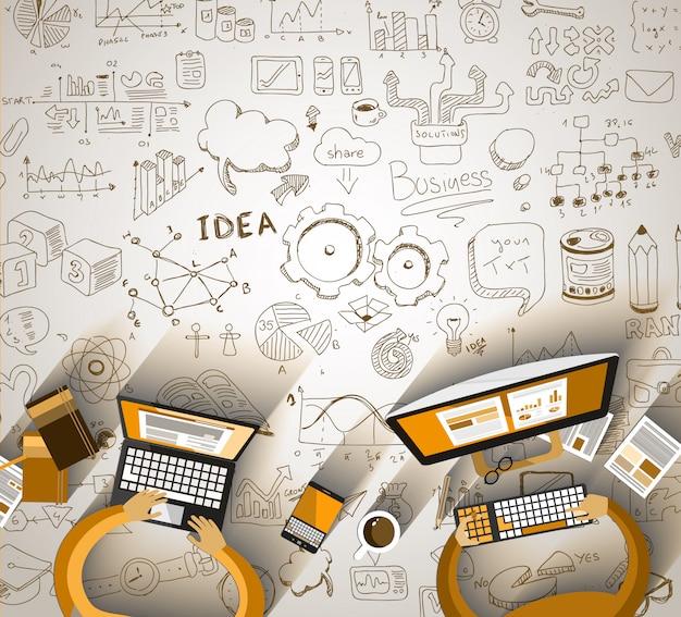 Trabalho em equipe infográficos com rabiscos de negócios desenho