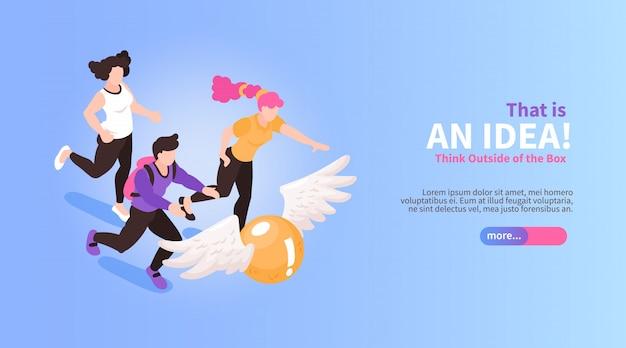 Trabalho em equipe isométrico, brainstorming banner horizontal com pessoas correndo para voar bola imagens conceituais texto e botão ilustração vetorial