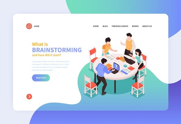 Trabalho em equipe isométrico, brainstorming conceito banner site landing page design com links clicáveis, texto e imagens ilustração vetorial