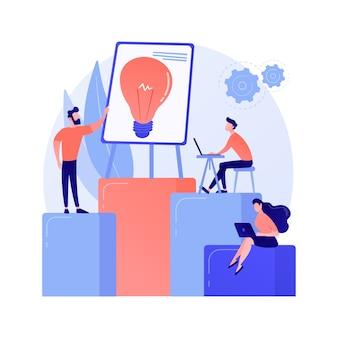 Trabalho em equipe na empresa, geração de ideias. discussão, reunião, conferência. brainstorming de personagens de trabalhadores corporativos, planejamento de estratégia de negócios