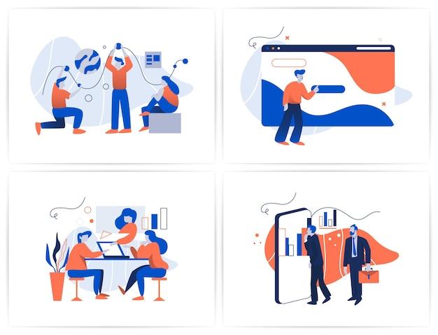 Trabalho em equipe no conjunto de projetos da equipe de desenvolvimento. ilustração de tecnologia