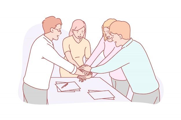 Trabalho em equipe ou coworking, conceito do negócio