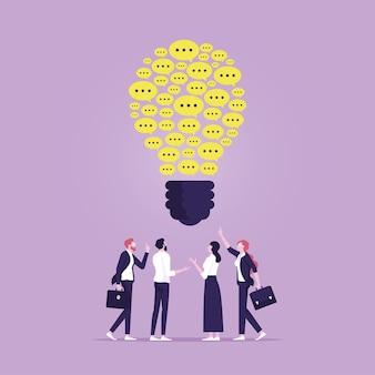 Trabalho em equipe ou pessoas com o mesmo conceito de ideias compartilhando ideias de negócios