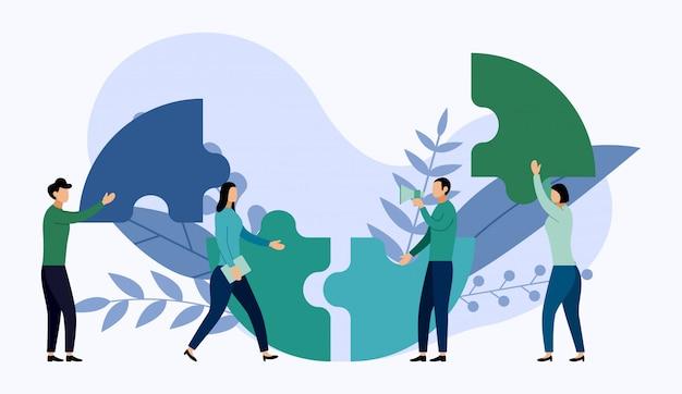 Trabalho em equipe, pessoas conectando elementos de quebra-cabeça