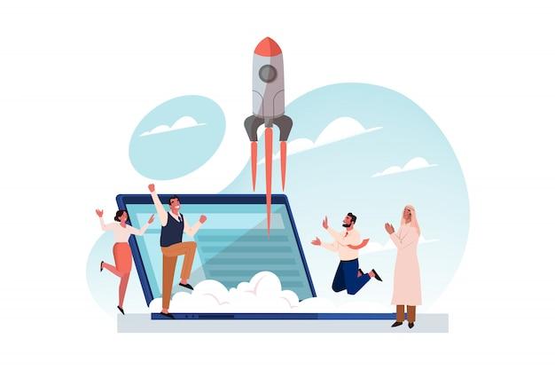 Trabalho em equipe, realização do objetivo, sucesso, conceito de lançamento de inicialização de negócios