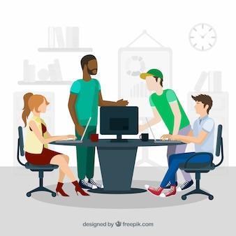 Trabalho em equipe reunião em estilo plano
