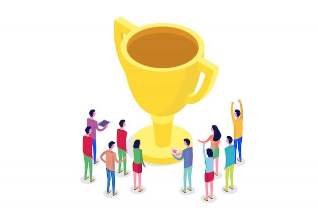 Trabalho em equipe, sucesso, conceito de equipe vitória isométrico. ilustração.