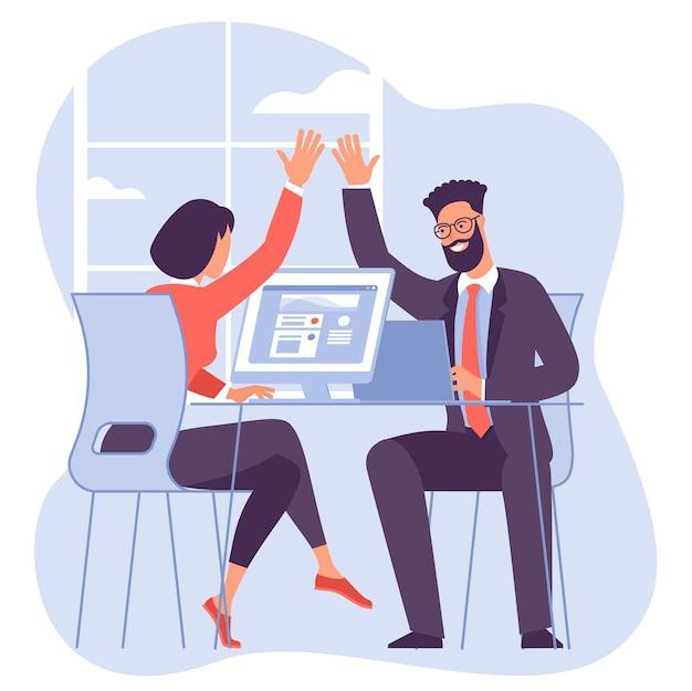 Trabalho em equipe. trabalhadores de escritório, rapazes e moças dão mais cinco uns aos outros