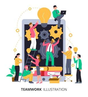 Trabalho em equipe trabalhando em uma ideia