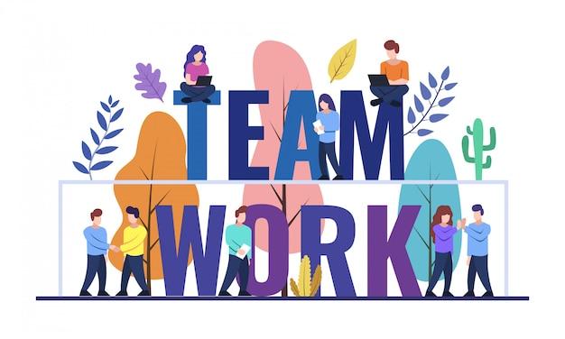Trabalho em equipe web banner design